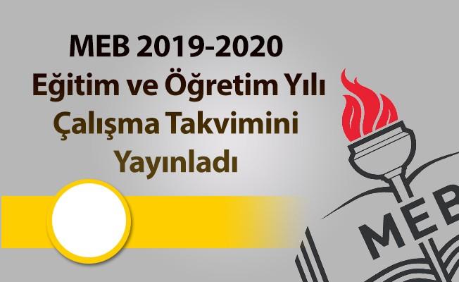 2019 ve 2020 eğitim öğretim yılı takvimi