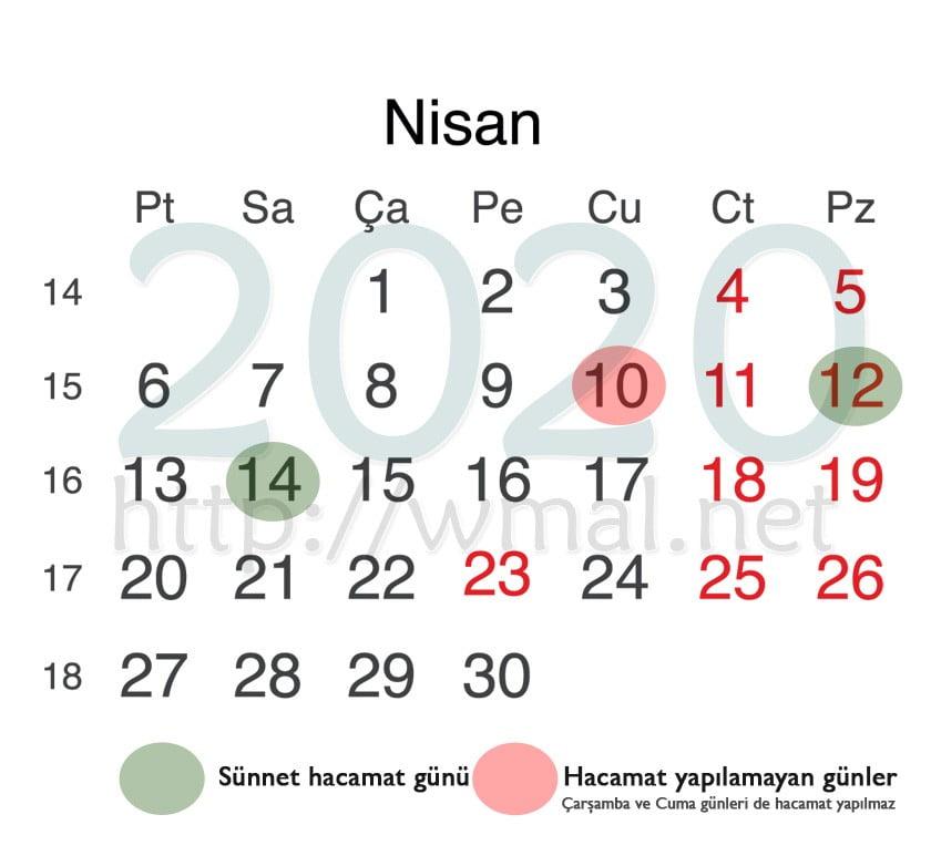 Nisan 2020 hacamat takvimi